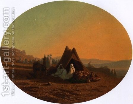 An Arab Encampment 2 by Charles Théodore Frère - Reproduction Oil Painting