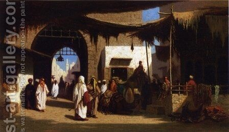 Dans la ruelle, Beruit by Charles Théodore Frère - Reproduction Oil Painting