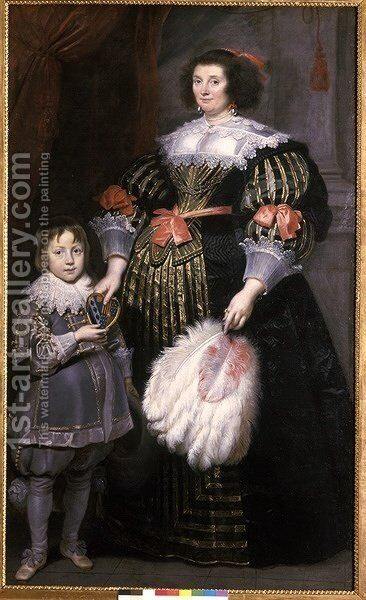 Madame Charlotte Butkens Smit van Cruyninghen and her son John Amatus by Cornelis De Vos - Reproduction Oil Painting