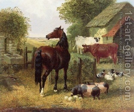 A Horse, Pigs, Cows and Ducks by John Frederick Herring Snr - Reproduction Oil Painting