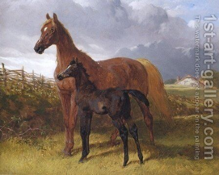 Chestnut Mare And Foal by John Frederick Herring Snr - Reproduction Oil Painting