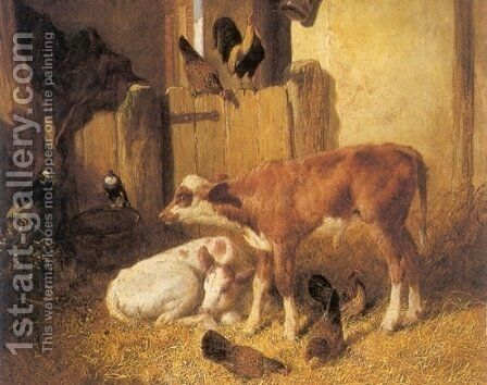 Contentment 1848 In the Barn by John Frederick Herring Snr - Reproduction Oil Painting