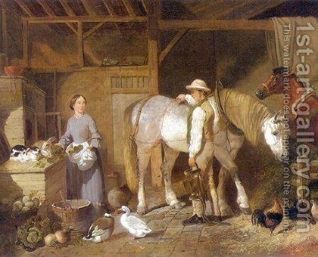 Feeding Time For Farm Animals in Barn 1845 by John Frederick Herring Snr - Reproduction Oil Painting