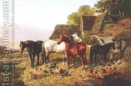 Horses Pigs and Poultry by John Frederick Herring Snr - Reproduction Oil Painting