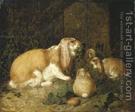 Lop Eared Rabbits 1860 by John Frederick Herring Snr - Reproduction Oil Painting