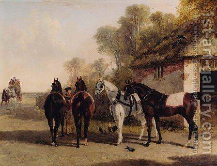 The Posting Inn, a change of horses waiting on a road with a mail coach approaching by John Frederick Herring Snr - Reproduction Oil Painting