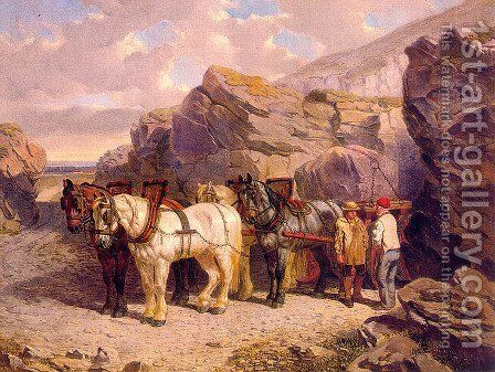 The Quarry by John Frederick Herring Snr - Reproduction Oil Painting