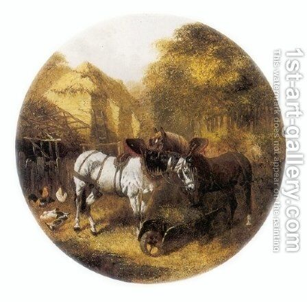 The Team at Rest in a Farmyard by John Frederick Herring Snr - Reproduction Oil Painting