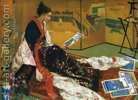 Caprice in Purple and Gold, The Golden Screen by James Abbott McNeill Whistler - Reproduction Oil Painting