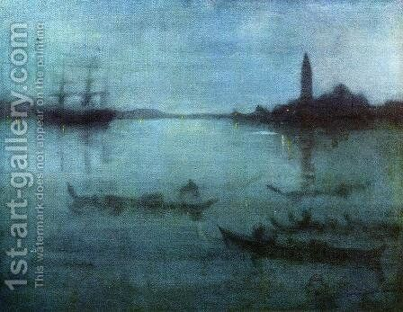 Nocturne in Blue and Silver, The Lagoon, Venice by James Abbott McNeill Whistler - Reproduction Oil Painting