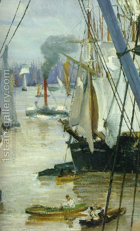 Wapping on Thames (detail) by James Abbott McNeill Whistler - Reproduction Oil Painting