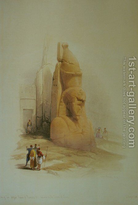 A colossal statue at the entrance to the Temple of Luxor by David Roberts - Reproduction Oil Painting