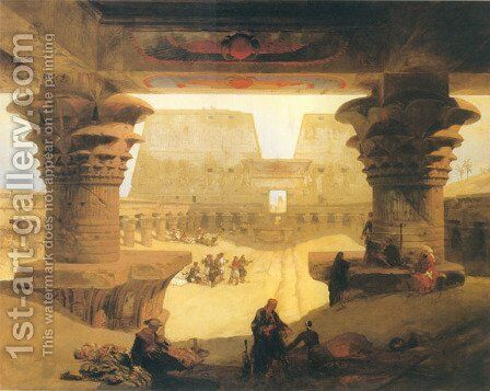 Dromos, or outer Court of the Great Temple at Edfou in Upper Egypt by David Roberts - Reproduction Oil Painting