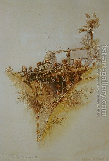 05 Persian Wheel used for drawing water from the Nile by David Roberts - Reproduction Oil Painting
