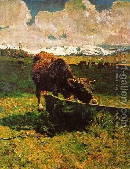 A cow drinking water by Giovanni Segantini - Reproduction Oil Painting