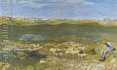Alpine Pascoli (Pascoli Alpine Spring) by Giovanni Segantini - Reproduction Oil Painting