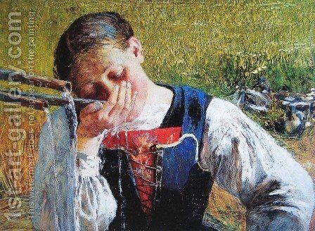 Bündnerin at the fountain by Giovanni Segantini - Reproduction Oil Painting