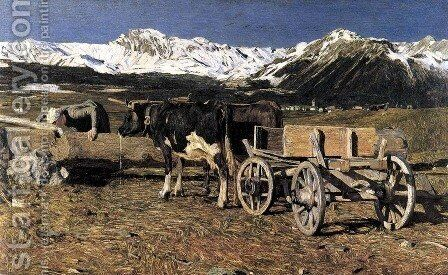 Cows drinking by Giovanni Segantini - Reproduction Oil Painting