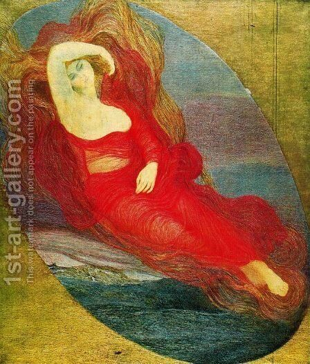 Goddess of love (angel of love. Pagan goddess) by Giovanni Segantini - Reproduction Oil Painting