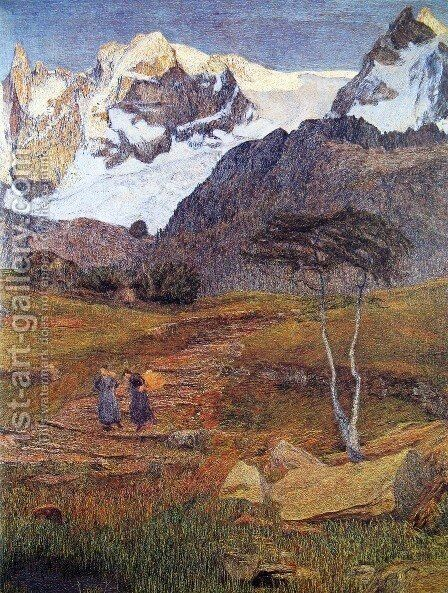 Life (detail) by Giovanni Segantini - Reproduction Oil Painting