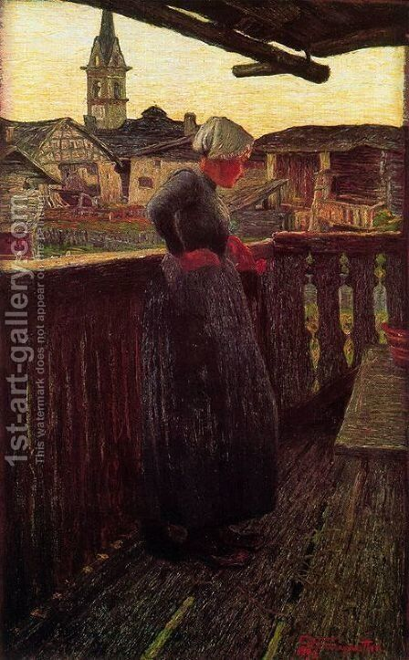 On the balcony by Giovanni Segantini - Reproduction Oil Painting