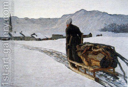 Return of the wood by Giovanni Segantini - Reproduction Oil Painting