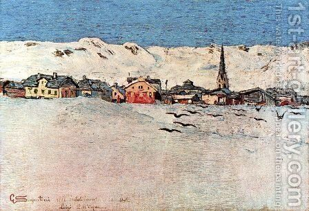 Savognin winter by Giovanni Segantini - Reproduction Oil Painting