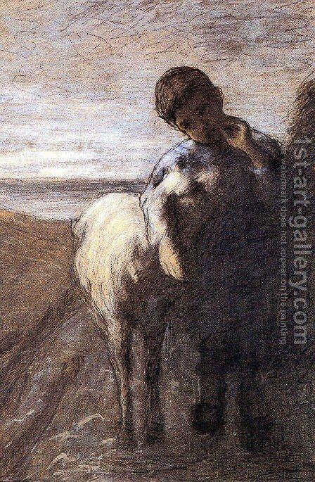 Shepherd boy with lamb by Giovanni Segantini - Reproduction Oil Painting