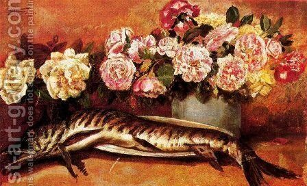 Still life with flowers and fish by Giovanni Segantini - Reproduction Oil Painting