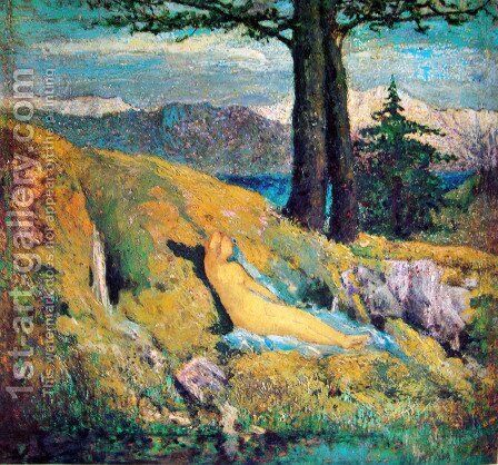 The fountain by Giovanni Segantini - Reproduction Oil Painting