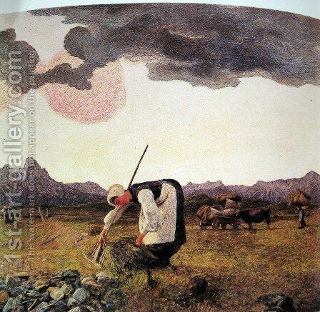The harvesting of hay by Giovanni Segantini - Reproduction Oil Painting