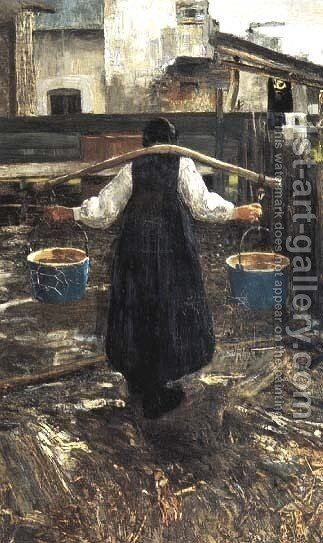 The water carrier by Giovanni Segantini - Reproduction Oil Painting