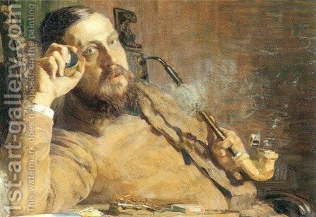 Vittore Grubicy (Ausschnitt) by Giovanni Segantini - Reproduction Oil Painting