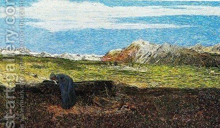 Woman at the fountain by Giovanni Segantini - Reproduction Oil Painting