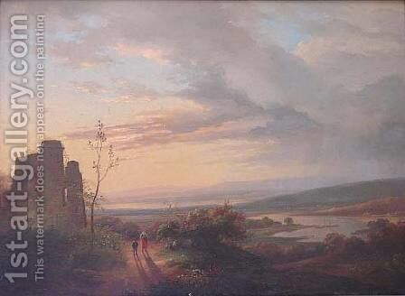 Castle Ruins at Twilight by Andreas Schelfhout - Reproduction Oil Painting
