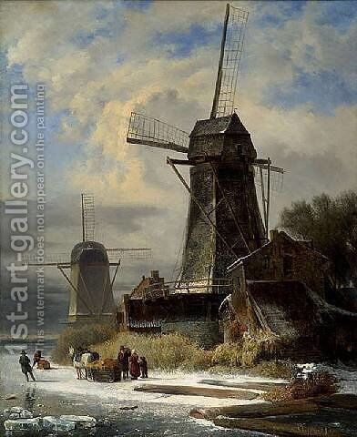 Winter Landscape with a moulin by Andreas Schelfhout - Reproduction Oil Painting