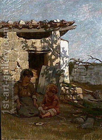 A Summer's Afternoon, Capri by Elihu Vedder - Reproduction Oil Painting