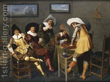 Gentlemen Smoking and Playing Backgammon in an Interior by Dirck Hals - Reproduction Oil Painting