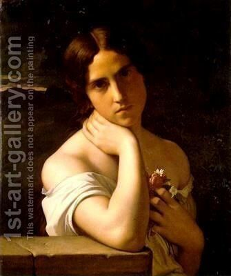 Portrait of a Young Girl by Jean Hippolyte Flandrin - Reproduction Oil Painting