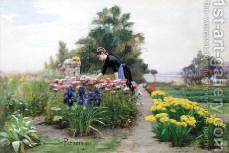 The Flower Garden by Cesar Pattein - Reproduction Oil Painting