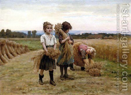 The young harvesters by Cesar Pattein - Reproduction Oil Painting