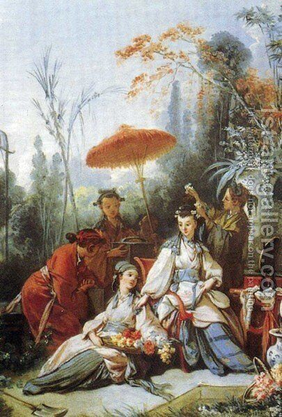 Chine style 2 by François Boucher - Reproduction Oil Painting