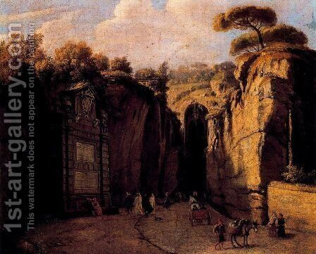 The cave of Posilipo (Naples) by Caspar Andriaans Van Wittel - Reproduction Oil Painting