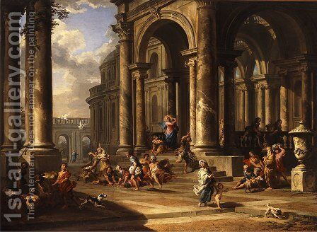 The expulsion of the merchants from the temple by Caspar Andriaans Van Wittel - Reproduction Oil Painting