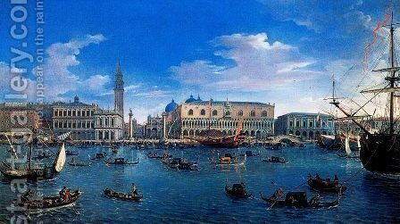 Venice seen from the island of St. Giorgio by Caspar Andriaans Van Wittel - Reproduction Oil Painting