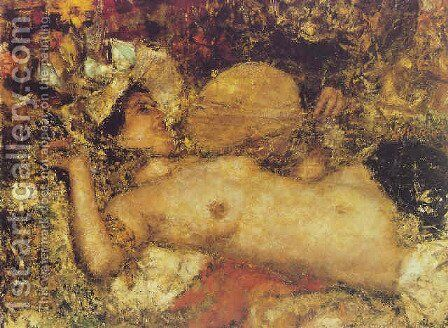 A female nude reclining by Antonio Mancini - Reproduction Oil Painting