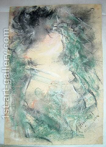 Nude with a green drape by Antonio Mancini - Reproduction Oil Painting