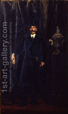 Portrait of Otto Messinger by Antonio Mancini - Reproduction Oil Painting