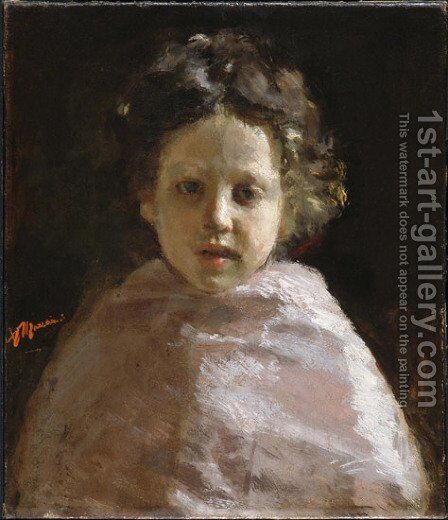 Portrait of a Child by Antonio Mancini - Reproduction Oil Painting