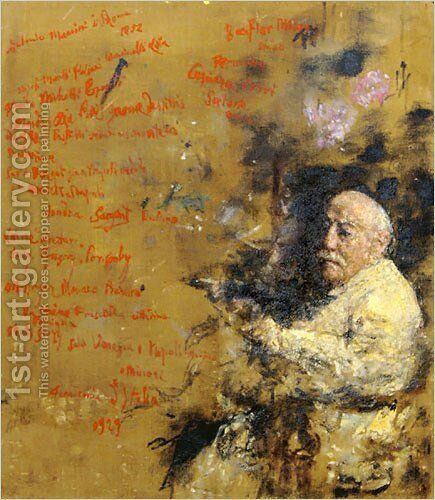 Self Portrait with Autobiographical Script by Antonio Mancini - Reproduction Oil Painting